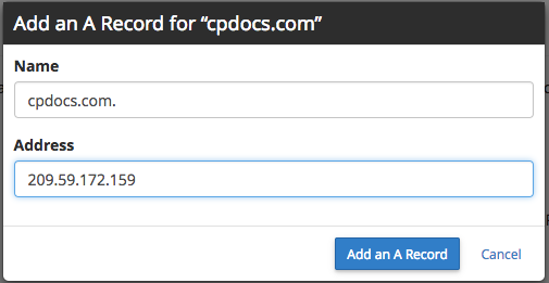 "Add an A record for ""cpdocs.com"""