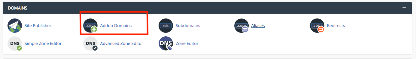 Addon Domains in cPanel Interface