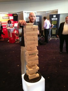 cPanel's giant Jenga game brought huge crowds and a lot of excitement to the booth at WHD.global 2013.