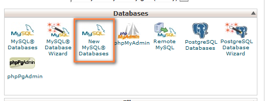 how to create a new database in mysql using cpanel