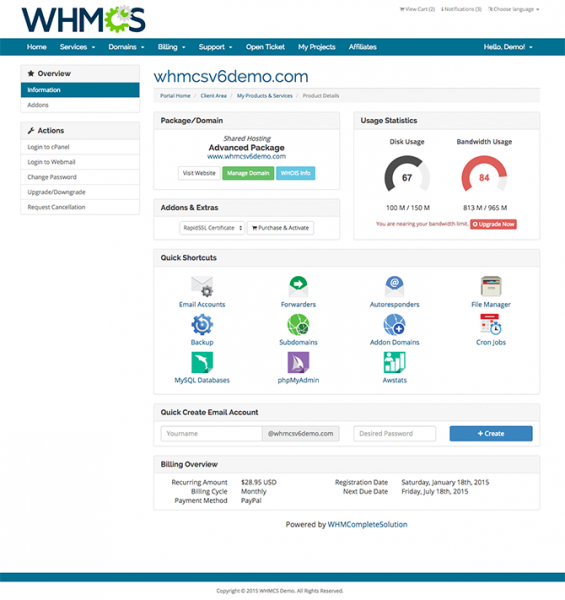WHMCS cPanel Client Area