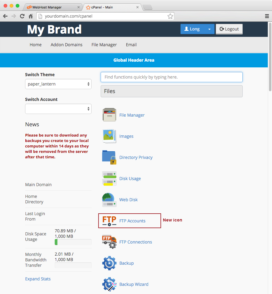 cPanel Custom FTP Accounts Icon Updated