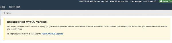 MySQL warning screenshot