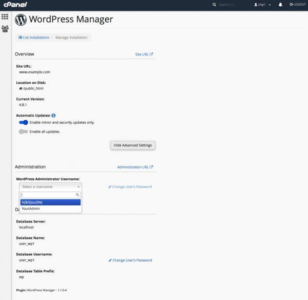 WordPress Manager Administrator User Password Reset
