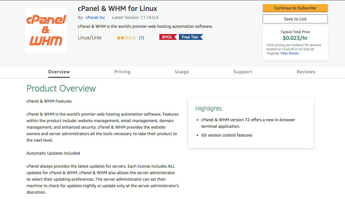 cPanel & Whm for Linux Screenshot from the Amazon Marketplace