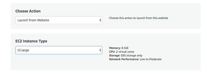 Options for customizing your instance when setting up cPanel on AWS