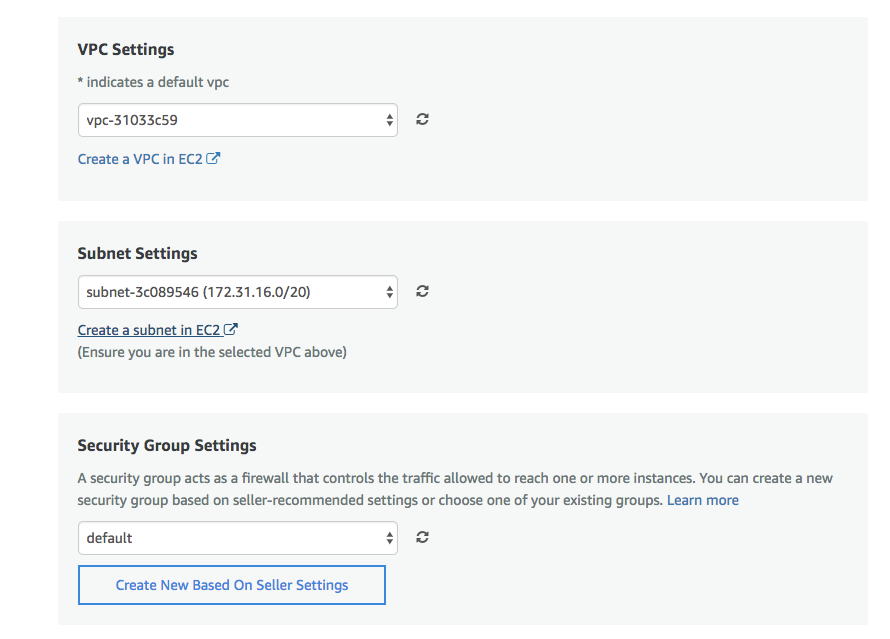 Options for further customizing your instance when setting up cPanel on AWS