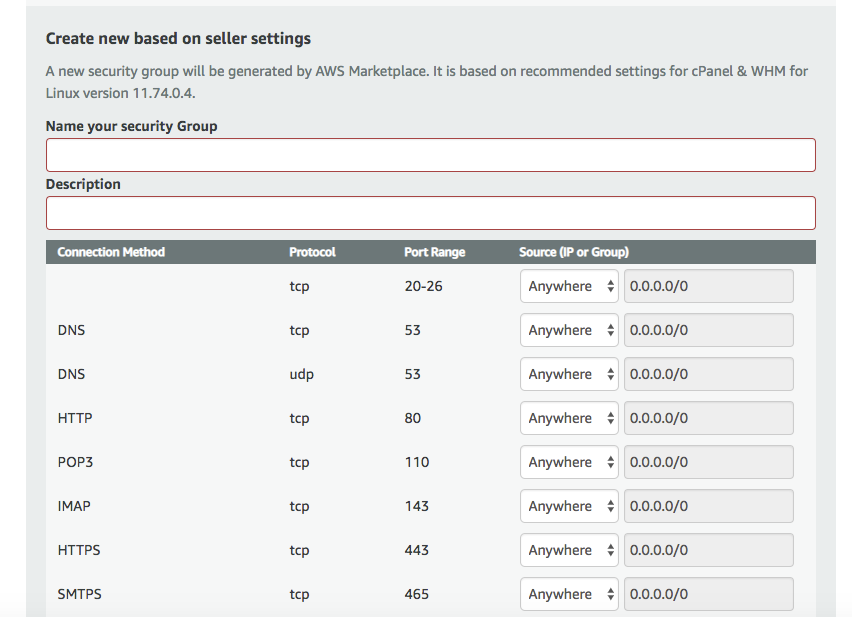 Screenshot of security group settings when installing cPanel on AWS