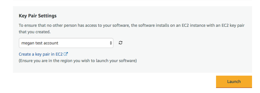 Screenshot of Key Pair Settings for installing cPanel on AWS