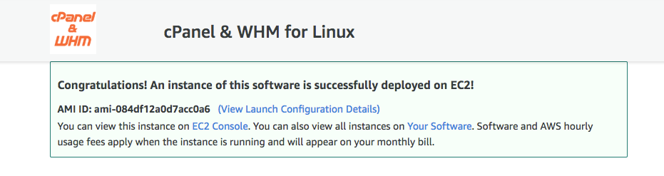 Screenshot of Launch confirmation for installing cPanel on AWS