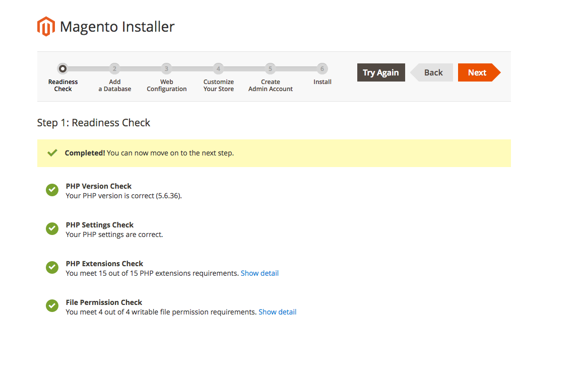 This image shows the Magento Installer readiness check