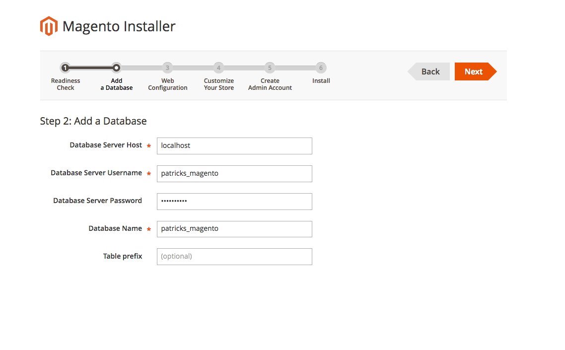 "This image shows the ""add a database"" step of the Magento installer"