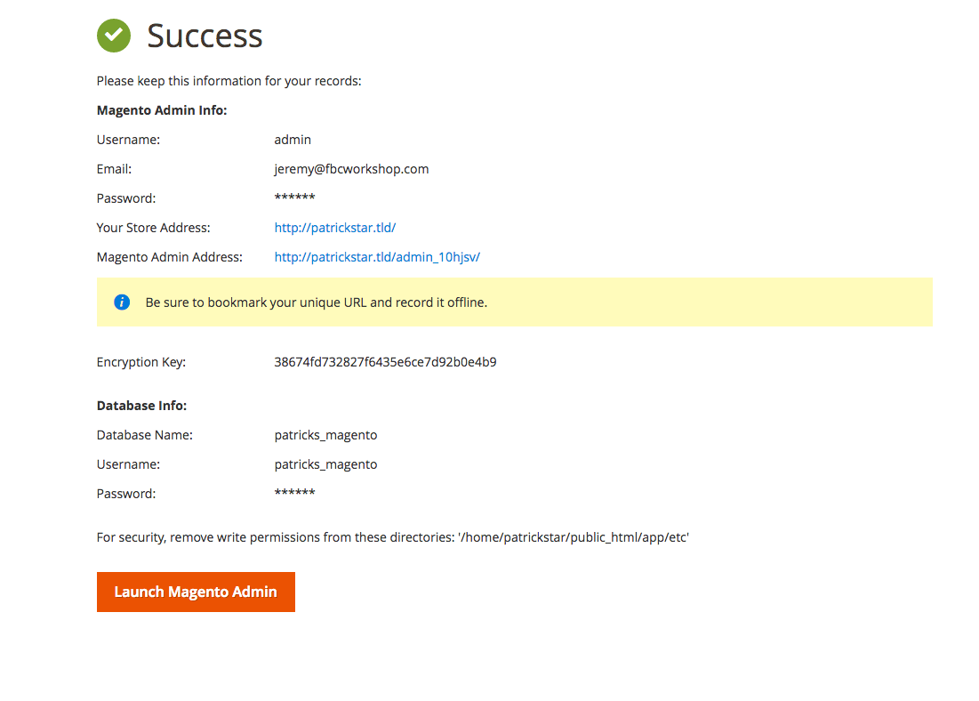 This image is the Magento installer showing a successful installation.