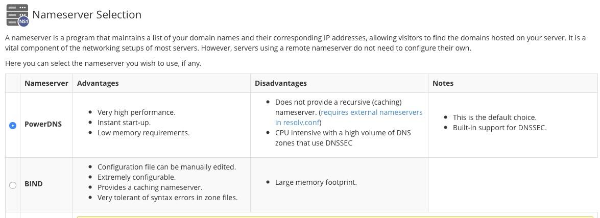Custom nameserver configuration in cPanel?
