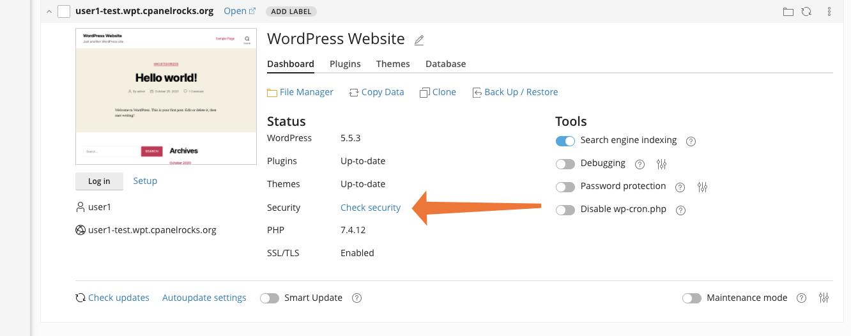 cPanel WordPress check security