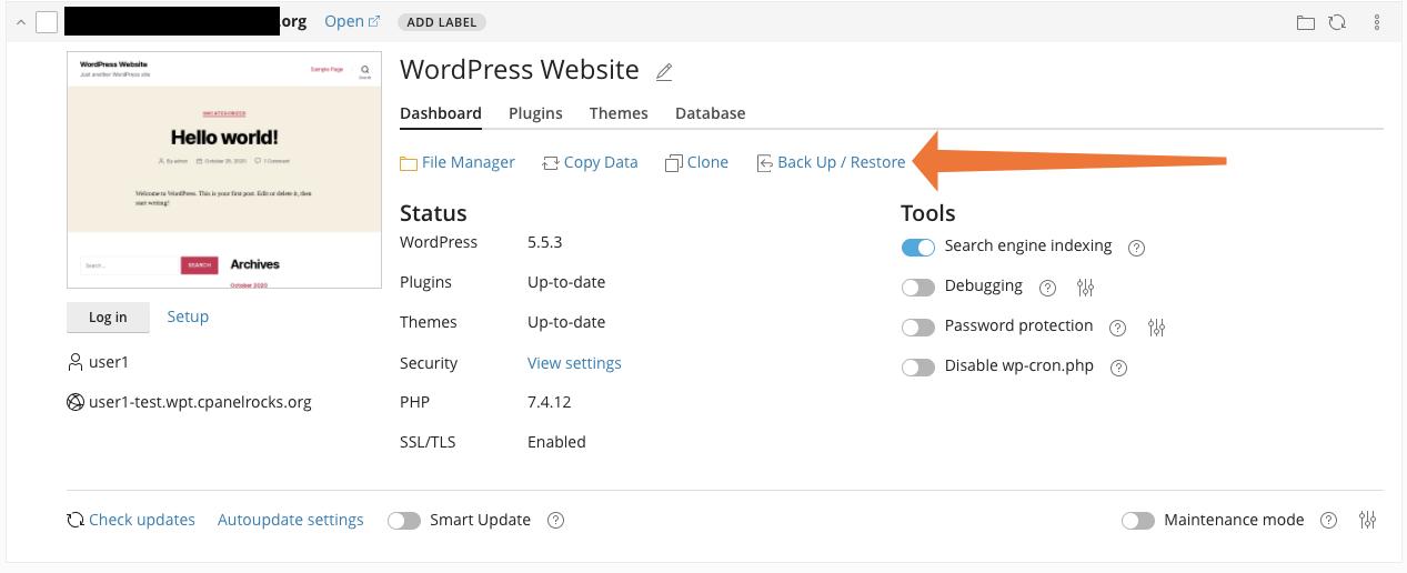 cPanel WordPress Toolkit Backup