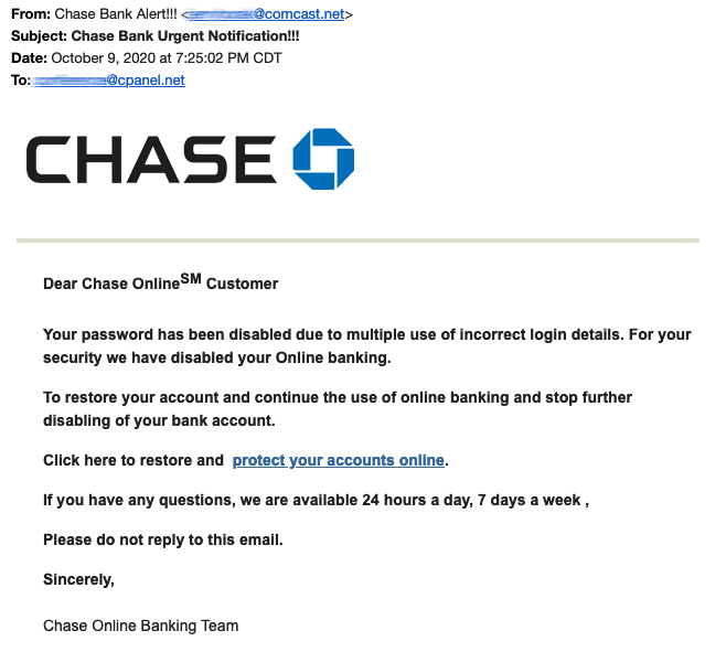 Example of a phishing email.