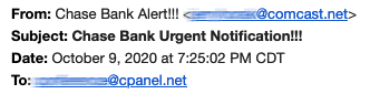Example of a phishing email header