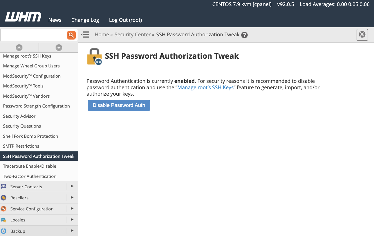cPanel Disable SSH Password