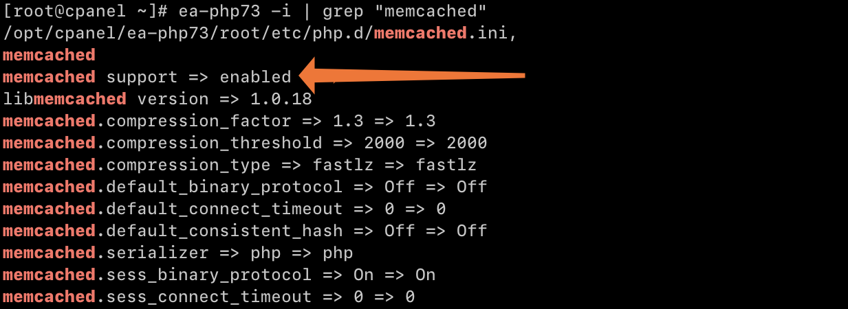 cPanel Memcached PHP Info
