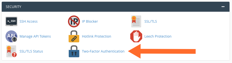 cPanel Two Factor Authentication Menu