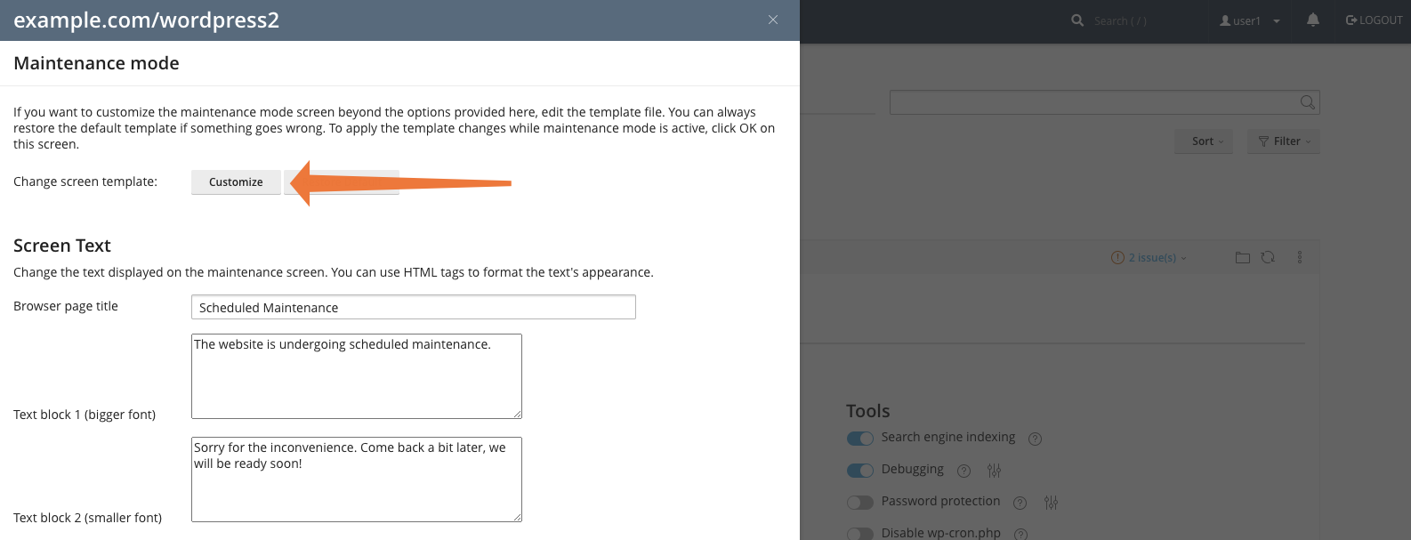 WordPress Toolkit for cPanel Customize Maintenance Mode