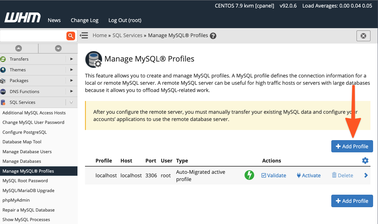 cPanel WHM MySQL Profiles